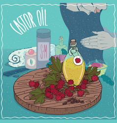 Castor oil used for hair care vector