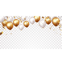 Celebration banner with gold confetti and balloons vector