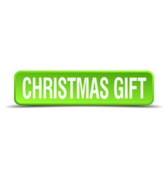 christmas gift green 3d realistic square isolated vector image