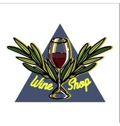 Color vintage wine shop emblem vector