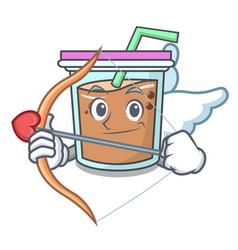 Cupid bubble tea character cartoon vector
