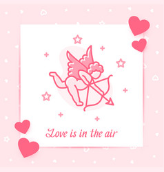 cupid valentine card text love line icon vector image