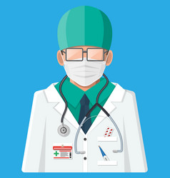 doctor in white coat with stethoscope vector image