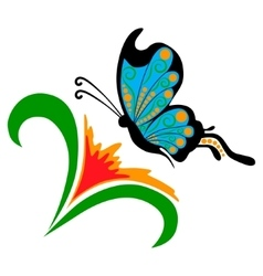 Doodle flower with butterfly vector image