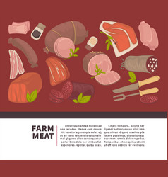 Farm meat and sausages products poster for vector