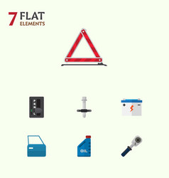 Flat icon service set of petrol muffler vector