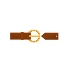 Flat ion of stylish brown leather belt with vector