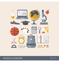 Flat school icons vector image