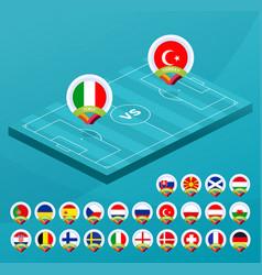 Football european 2021 championship isometric vector