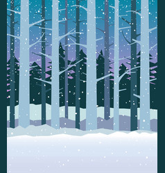 forest in winter with falling snow vector image