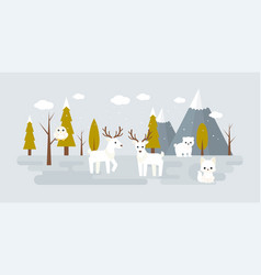 Forest landscape in winter with wild animal vector