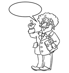 Funny scientist or inventor With balloon for text vector