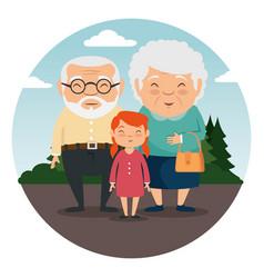 Grandparents family with grandchildren vector