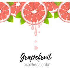 grapefruit slice seamless border citrus juice vector image