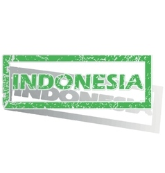 Green outlined Indonesia stamp vector