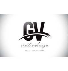 Gv g v letter logo design with swoosh and black vector