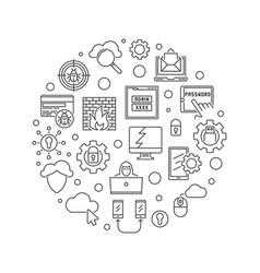 Hacker round cybersecurity concept outline vector