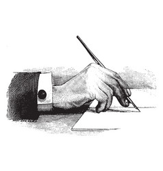 hand holding a pen rear view vintage engraving vector image