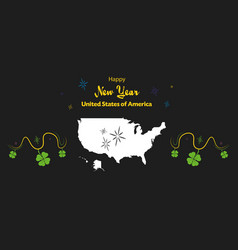 Happy new year theme with map of the usa vector