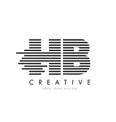 hb h b zebra letter logo design with black and vector image