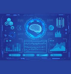 human brain futuristic medical hologram vector image