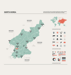 Map north korea high detailed country vector