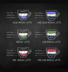 matcha tea recipes on chalkboard background vector image
