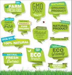 Modern eco and natural origami sale stickers and vector