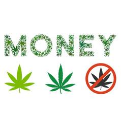 Money caption mosaic of marijuana vector