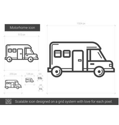 Motorhome line icon vector
