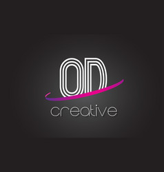 od o d letter logo with lines design and purple vector image