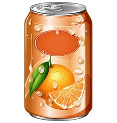 Orange juice in can vector