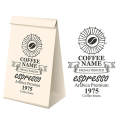 paper packaging with label for coffee beans vector image