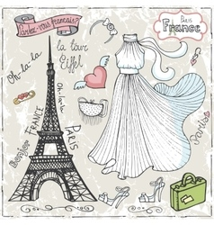 Paris setDressletteringfashionHand drawn vector image