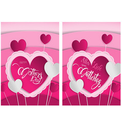 pink greeting card happy mothers day vector image