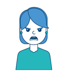 portrait woman angry facial expression cartoon vector image