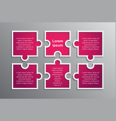 Puzzle pieces square infographic 6 step process vector