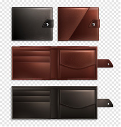 realistic wallet transparent icon set vector image
