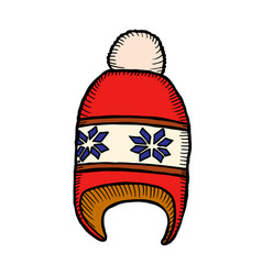 red and white knitted hat vector image
