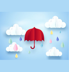 red umbrella and rainy on clouds background paper vector image