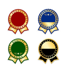 ribbon award best price labels set gold ribbon vector image
