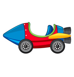 Rocket car in red and blue color vector