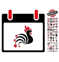 Rooster Fireworks Calendar Day Flat Icon vector image