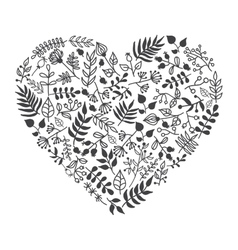 Rustic floral heart shape vector