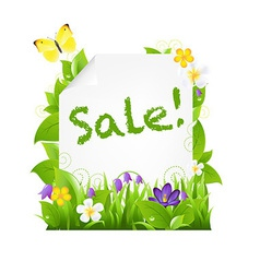 Sale Banner With Flowers And Leaves vector image