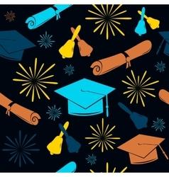 Seamless graduations backdrop of graduation caps vector image
