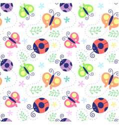 Seamless pattern ladybug vector