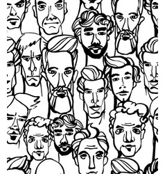 seamless pattern male doodle hand drawn vector image