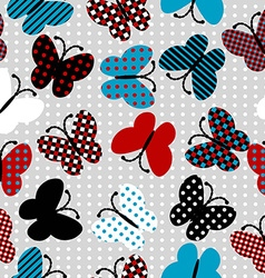 Seamless pattern with patterned butterflies vector image