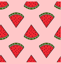 Seamless watermelon hand drawing imitation vector